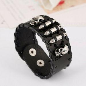 Rock Punk Skull Wide Black Leather Bullet Bracelet